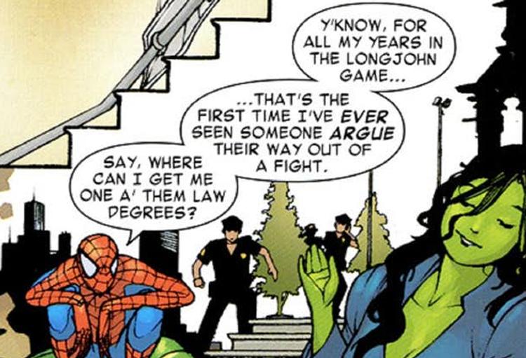 Atuando como advogada do Homem-Aranha