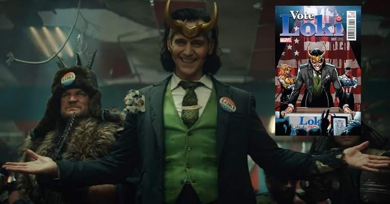 Comparação de cena com imagem da HQ Vote Loki